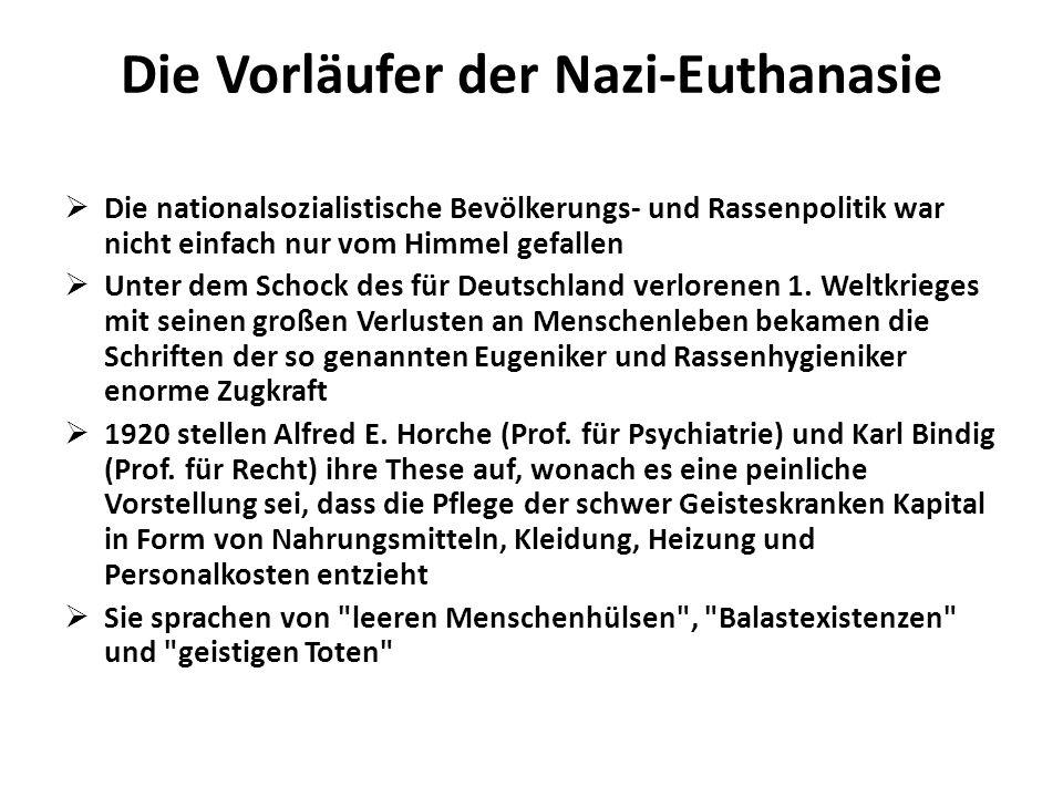 Die Vorläufer der Nazi-Euthanasie Die nationalsozialistische Bevölkerungs- und Rassenpolitik war nicht einfach nur vom Himmel gefallen Unter dem Schoc