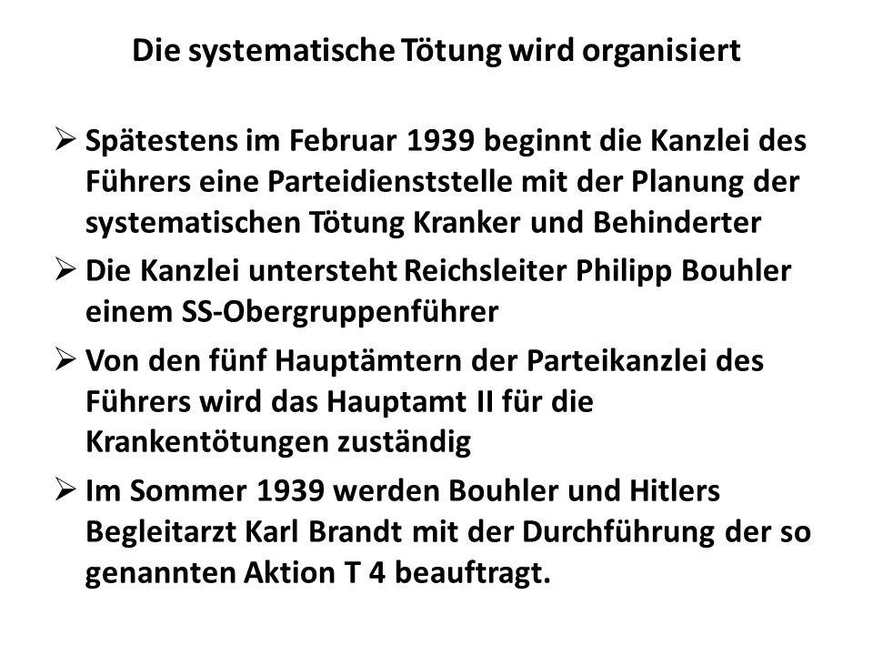 Die systematische Tötung wird organisiert Spätestens im Februar 1939 beginnt die Kanzlei des Führers eine Parteidienststelle mit der Planung der syste