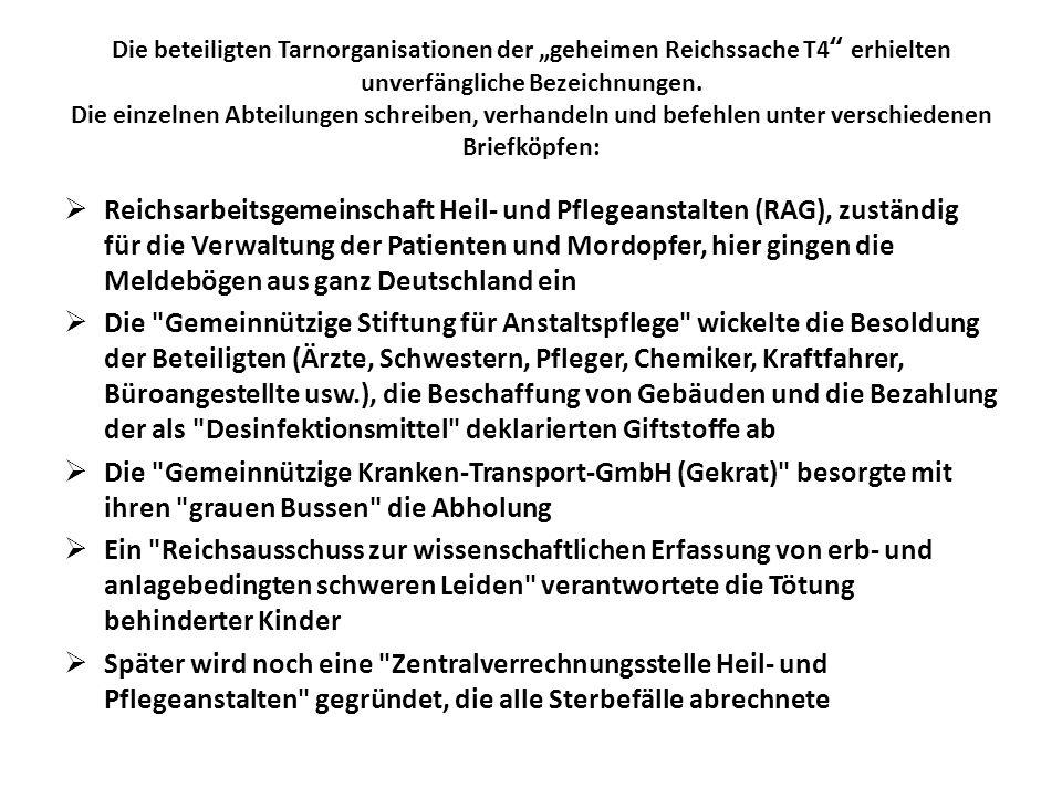 Die beteiligten Tarnorganisationen der geheimen Reichssache T4 erhielten unverfängliche Bezeichnungen. Die einzelnen Abteilungen schreiben, verhandeln