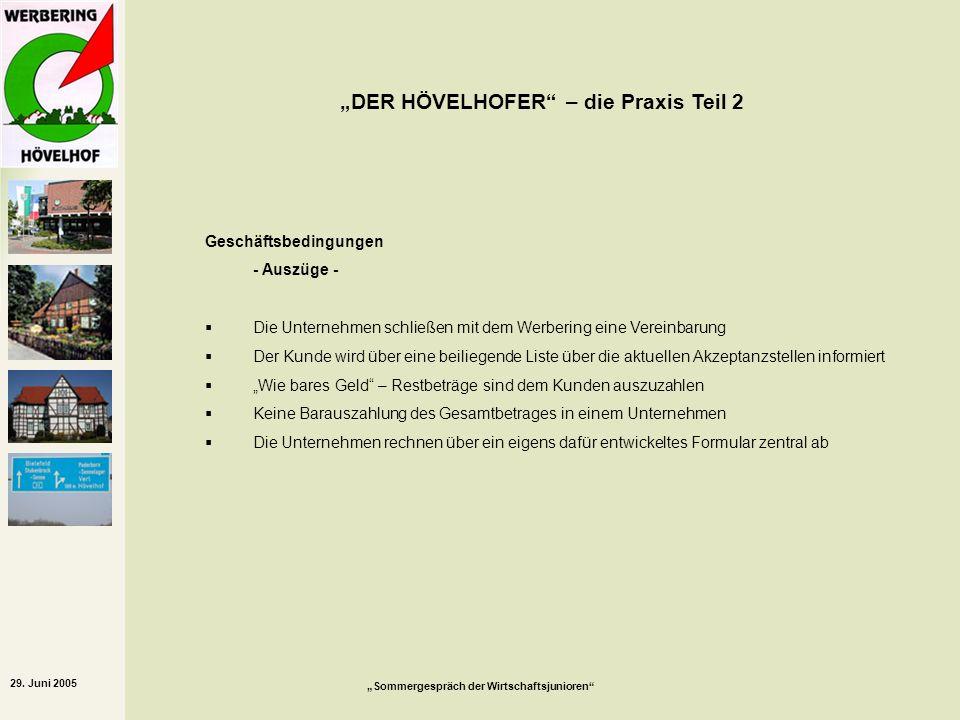 29. Juni 2005 Sommergespräch der Wirtschaftsjunioren DER HÖVELHOFER – die Praxis Teil 2 Geschäftsbedingungen - Auszüge - Die Unternehmen schließen mit
