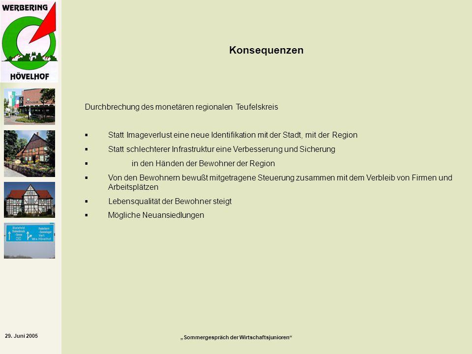 29. Juni 2005 Sommergespräch der Wirtschaftsjunioren Konsequenzen Durchbrechung des monetären regionalen Teufelskreis Statt Imageverlust eine neue Ide