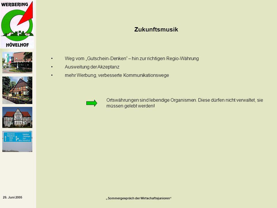29. Juni 2005 Sommergespräch der Wirtschaftsjunioren Zukunftsmusik Weg vom Gutschein-Denken – hin zur richtigen Regio-Währung Ausweitung der Akzeptanz