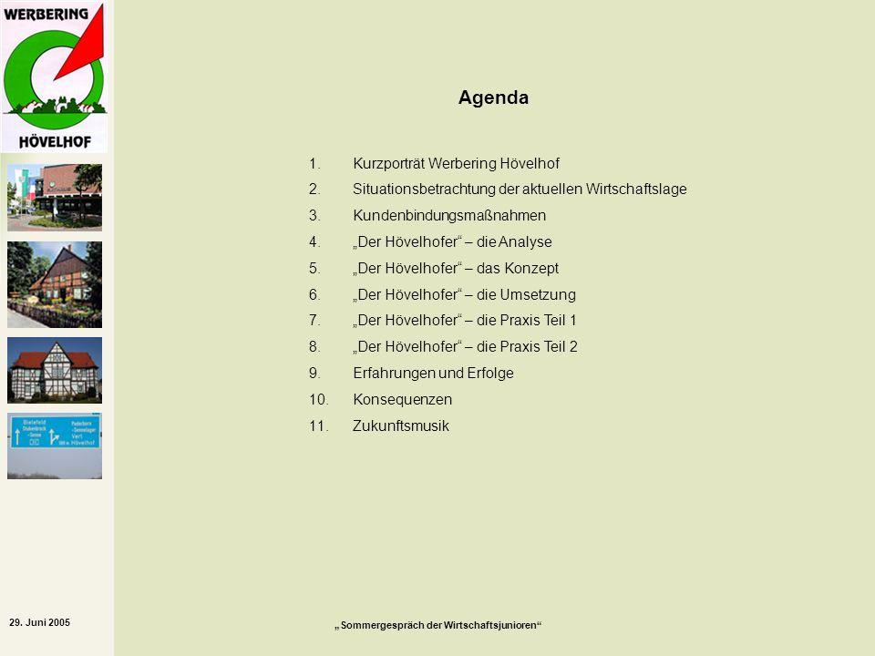 29. Juni 2005 Sommergespräch der Wirtschaftsjunioren 1.Kurzporträt Werbering Hövelhof 2.Situationsbetrachtung der aktuellen Wirtschaftslage 3.Kundenbi