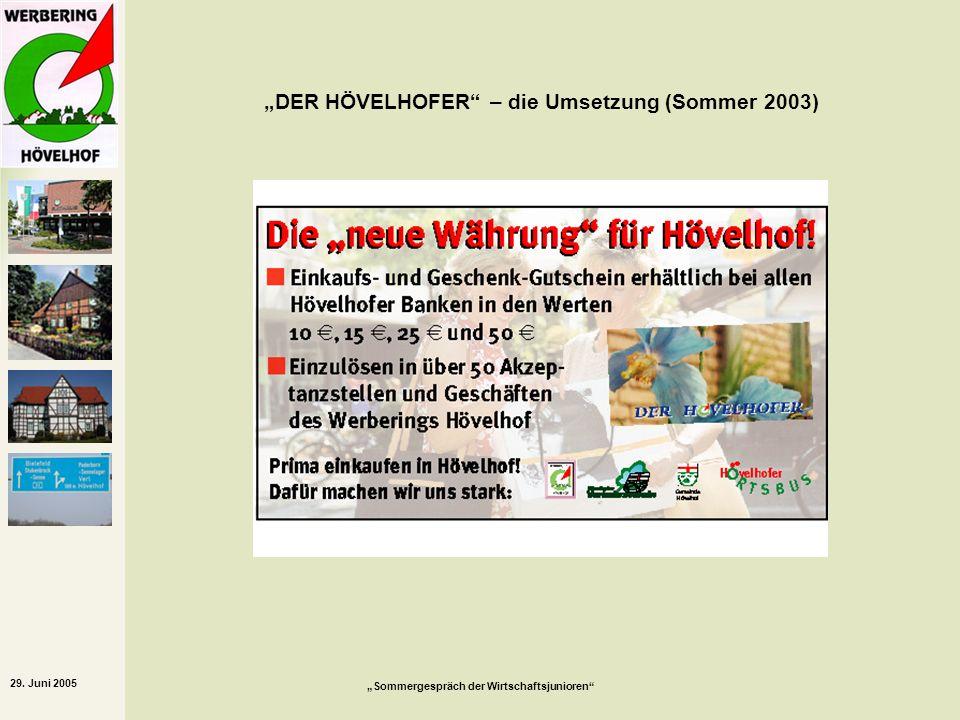 29. Juni 2005 Sommergespräch der Wirtschaftsjunioren DER HÖVELHOFER – die Umsetzung (Sommer 2003)