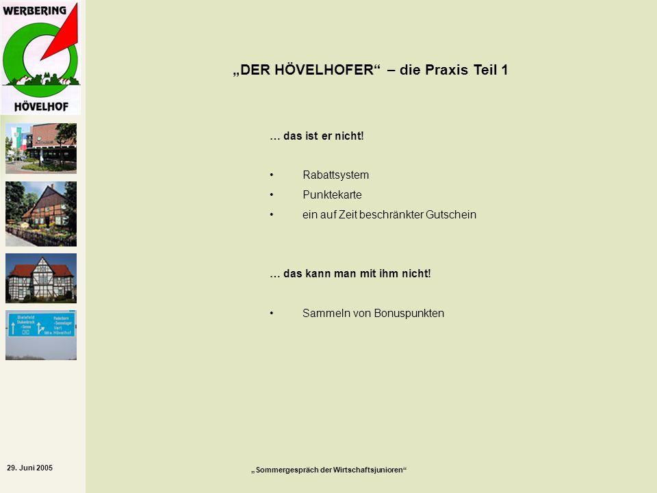 29. Juni 2005 Sommergespräch der Wirtschaftsjunioren DER HÖVELHOFER – die Praxis Teil 1 … das ist er nicht! Rabattsystem Punktekarte ein auf Zeit besc
