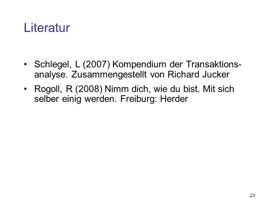 20 Literatur Schlegel, L (2007) Kompendium der Transaktions- analyse. Zusammengestellt von Richard Jucker Rogoll, R (2008) Nimm dich, wie du bist. Mit