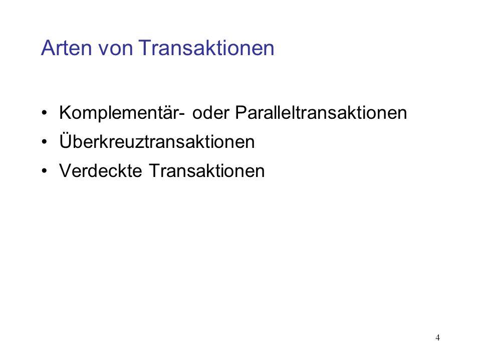 4 Arten von Transaktionen Komplementär- oder Paralleltransaktionen Überkreuztransaktionen Verdeckte Transaktionen