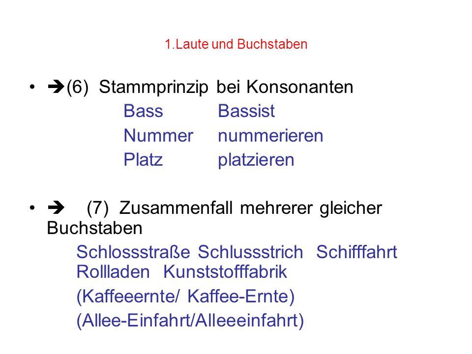 1.Laute und Buchstaben (6) Stammprinzip bei Konsonanten BassBassist Nummer nummerieren Platzplatzieren (7) Zusammenfall mehrerer gleicher Buchstaben S