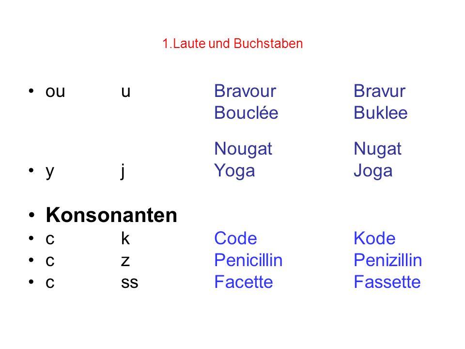 1.Laute und Buchstaben ouuBravourBravur BoucléeBuklee NougatNugat yjYogaJoga Konsonanten ckCodeKode czPenicillinPenizillin cssFacetteFassette