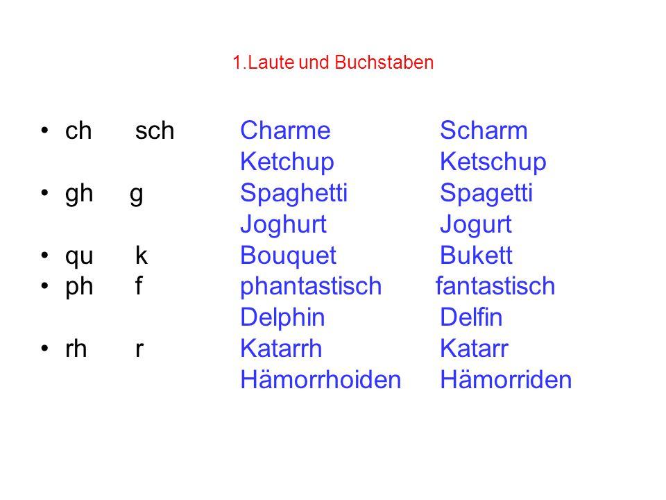 1.Laute und Buchstaben ch schCharmeScharm KetchupKetschup gh gSpaghettiSpagetti JoghurtJogurt qu kBouquetBukett ph fphantastisch fantastisch DelphinDe