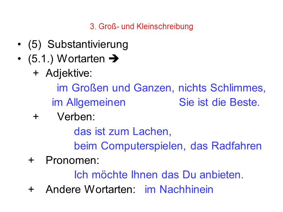 3. Groß- und Kleinschreibung (5) Substantivierung (5.1.) Wortarten + Adjektive: im Großen und Ganzen, nichts Schlimmes, im Allgemeinen Sie ist die Bes