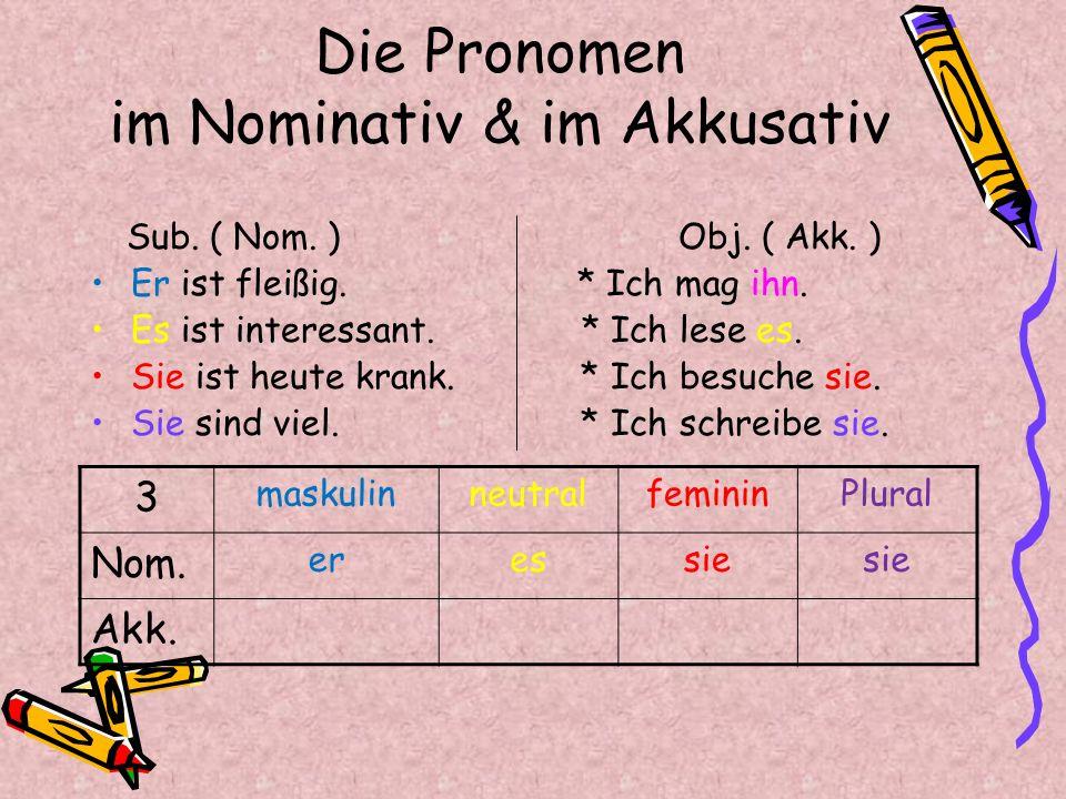 Die Pronomen im Nominativ & im Akkusativ Sub. ( Nom. ) Obj. ( Akk. ) Er ist fleißig. * Ich mag ihn. Es ist interessant. * Ich lese es. Sie ist heute k
