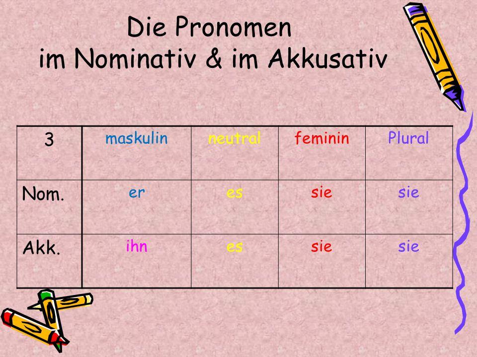 Die Pronomen im Nominativ & im Akkusativ Pluralfemininneutralmaskulin 3 sie eser Nom. sie esihn Akk.