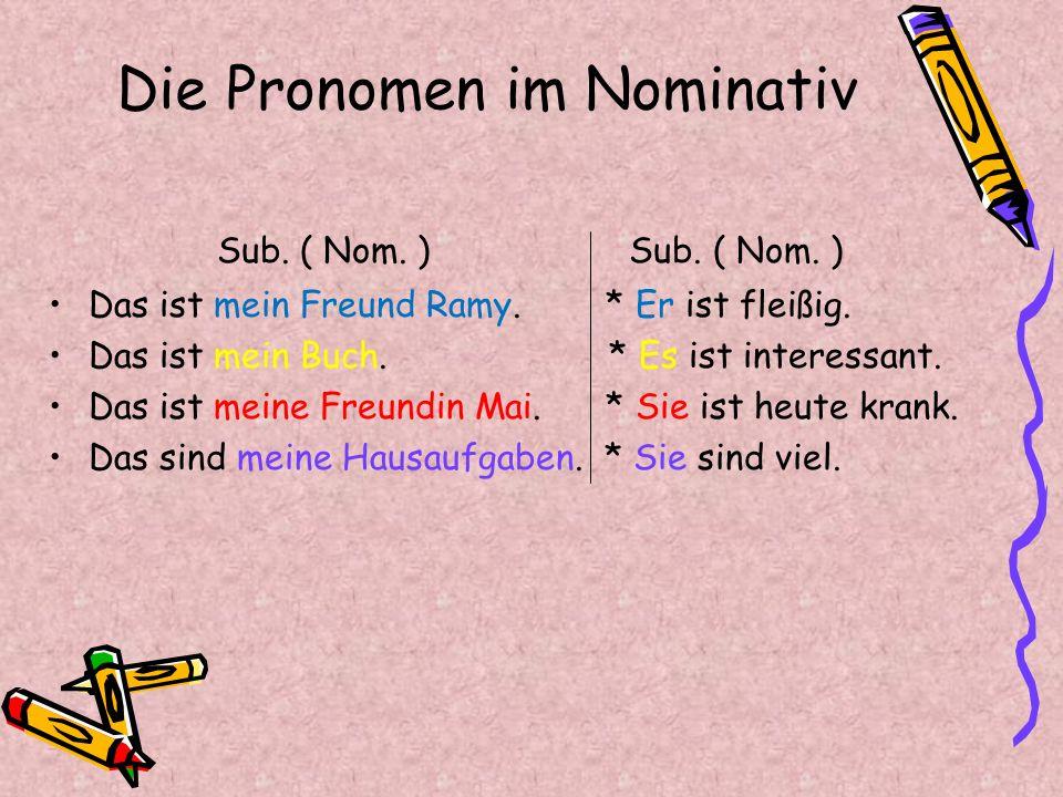 Die Pronomen im Nominativ Sub. ( Nom. ) Sub. ( Nom. ) Das ist mein Freund Ramy. * Er ist fleißig. Das ist mein Buch. * Es ist interessant. Das ist mei