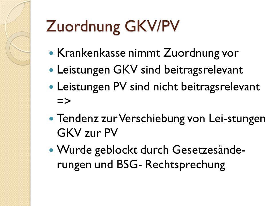 Zuordnung GKV/PV Krankenkasse nimmt Zuordnung vor Leistungen GKV sind beitragsrelevant Leistungen PV sind nicht beitragsrelevant => Tendenz zur Verschiebung von Lei-stungen GKV zur PV Wurde geblockt durch Gesetzesände- rungen und BSG- Rechtsprechung