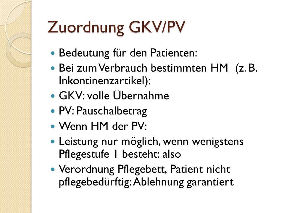 Zuordnung GKV/PV Bedeutung für den Patienten: Bei zum Verbrauch bestimmten HM (z.