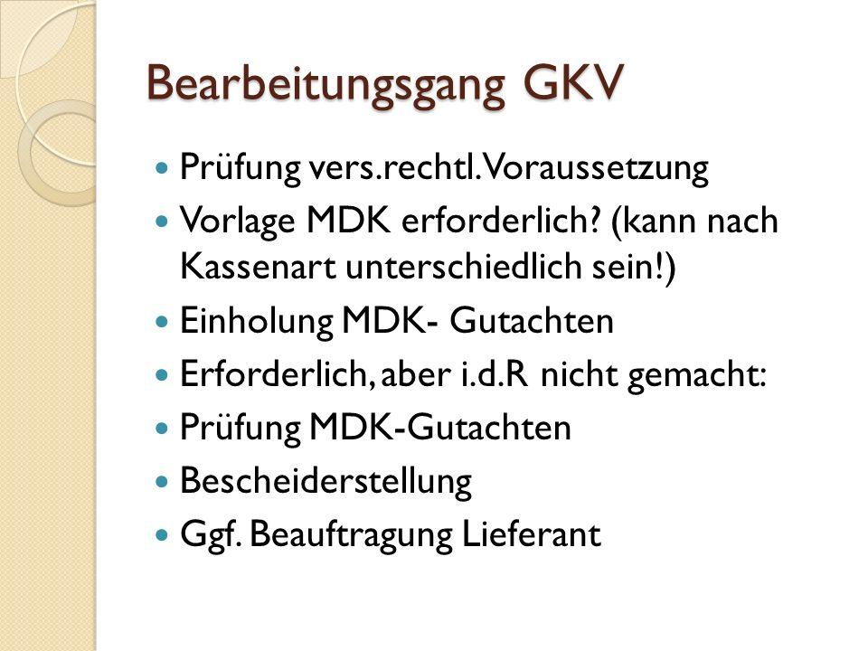 Bearbeitungsgang GKV Prüfung vers.rechtl.Voraussetzung Vorlage MDK erforderlich.