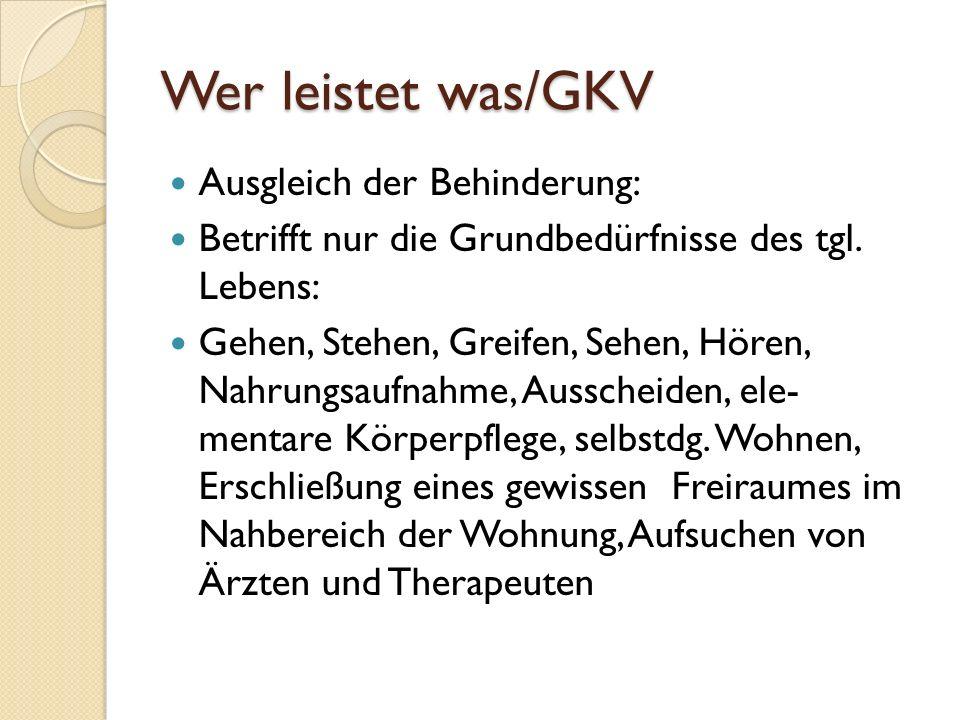 Wer leistet was/GKV Ausgleich der Behinderung: Betrifft nur die Grundbedürfnisse des tgl.