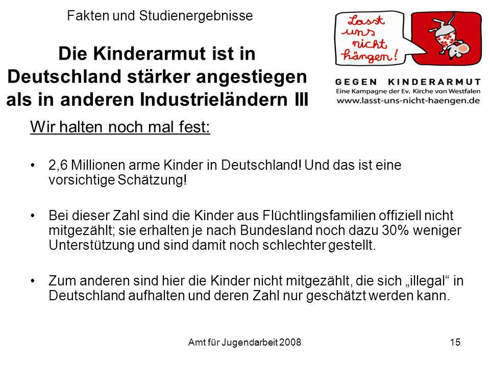 Amt für Jugendarbeit 200815 Fakten und Studienergebnisse Die Kinderarmut ist in Deutschland stärker angestiegen als in anderen Industrieländern III Wi