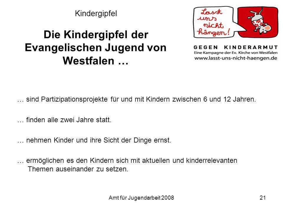 Amt für Jugendarbeit 200821 Kindergipfel Die Kindergipfel der Evangelischen Jugend von Westfalen … … sind Partizipationsprojekte für und mit Kindern z