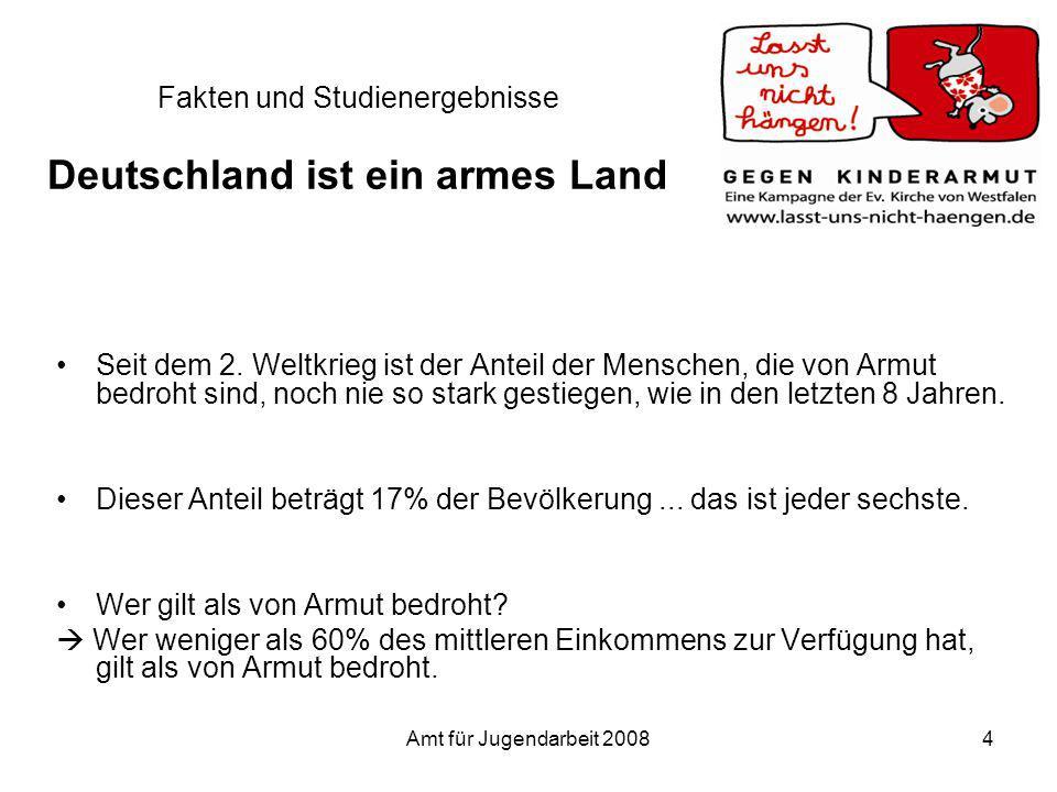 Amt für Jugendarbeit 20084 Fakten und Studienergebnisse Deutschland ist ein armes Land Seit dem 2. Weltkrieg ist der Anteil der Menschen, die von Armu