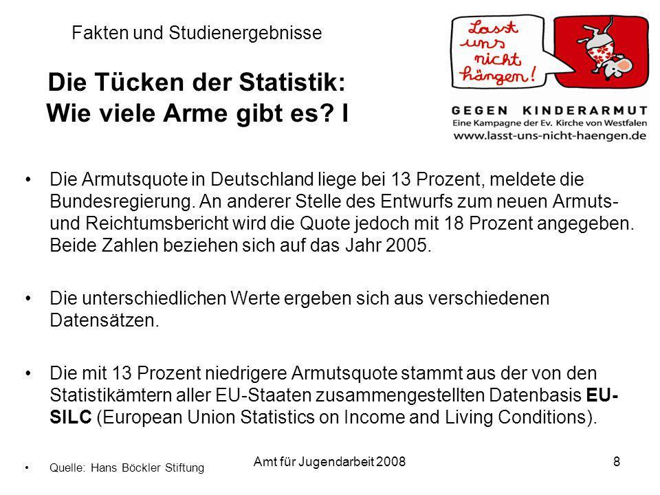 Amt für Jugendarbeit 200819 Bundesländer im Vergleich BundeslandAnteil Kinder, die Sozialgeld beziehen Bayern06,6 % Baden-Württemberg07,2 % Rheinland-Pfalz09,9 % Hessen12,0 % Niedersachsen13,5 % Nordrhein-Westfalen14,0 % Saarland14,0 % Schleswig-Holstein14,4 % Hamburg20,8 % Thüringen20,8 % Brandenburg21,5 % Sachsen22,8 % Mecklenburg-Vorpommern27,8 % Sachsen-Anhalt27,9 % Bremen28,1 % Berlin30,7 % Deutschland (insgesamt)14,0 %