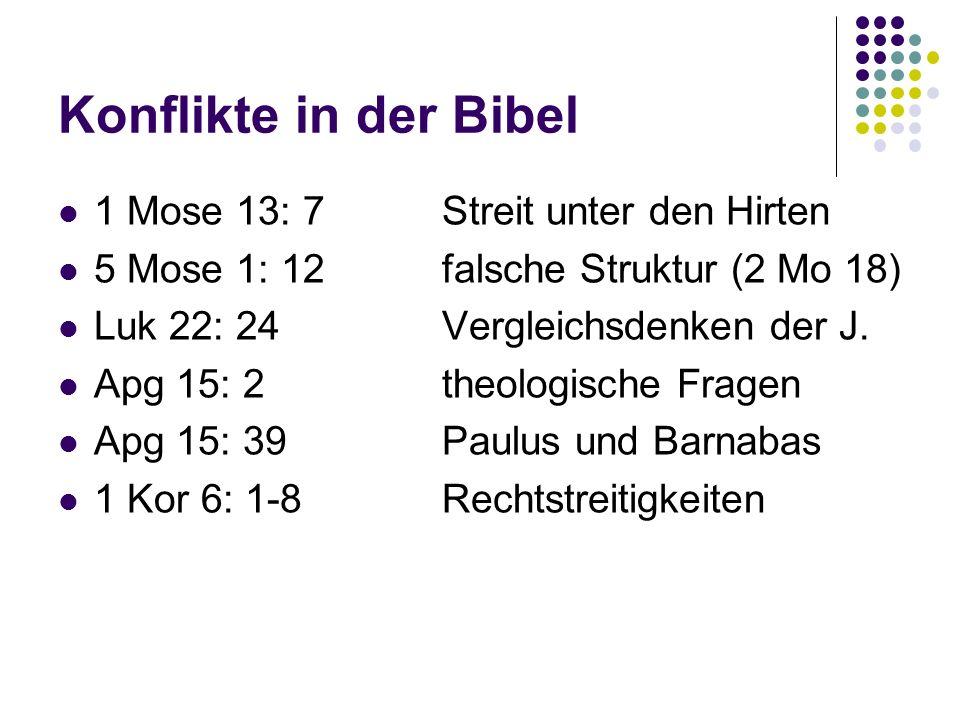 Konflikte in der Bibel 1 Mose 13: 7Streit unter den Hirten 5 Mose 1: 12falsche Struktur (2 Mo 18) Luk 22: 24Vergleichsdenken der J. Apg 15: 2theologis