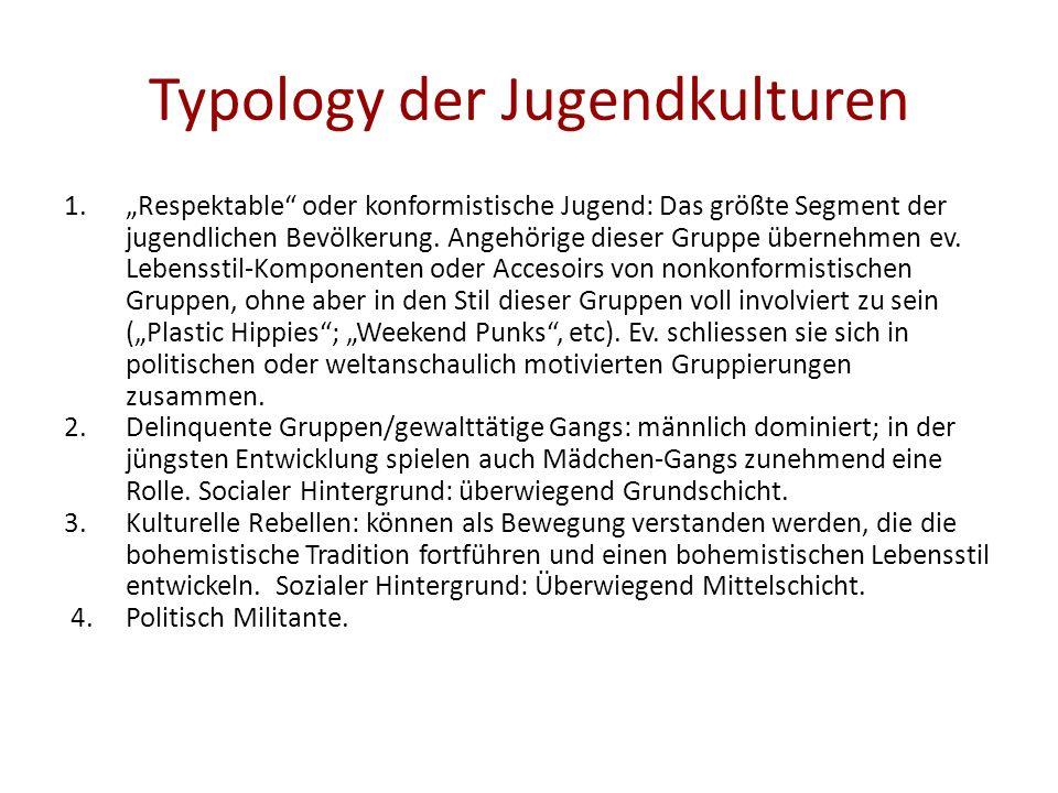 Typology der Jugendkulturen 1.Respektable oder konformistische Jugend: Das größte Segment der jugendlichen Bevölkerung. Angehörige dieser Gruppe übern