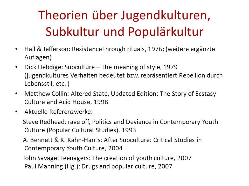 Theorien über Jugendkulturen, Subkultur und Populärkultur Hall & Jefferson: Resistance through rituals, 1976; (weitere ergänzte Auflagen) Dick Hebdige