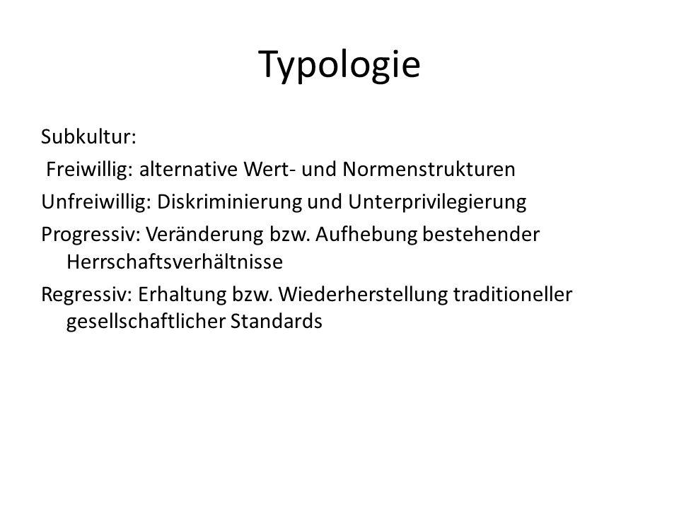 Typologie Subkultur: Freiwillig: alternative Wert- und Normenstrukturen Unfreiwillig: Diskriminierung und Unterprivilegierung Progressiv: Veränderung