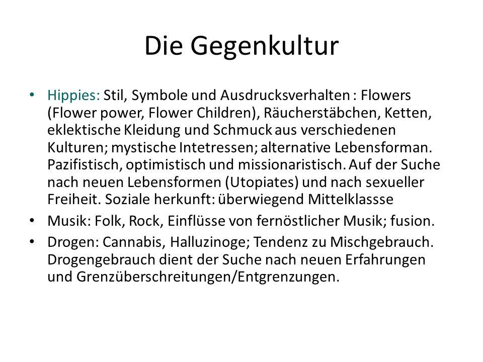 Die Gegenkultur Hippies: Stil, Symbole und Ausdrucksverhalten : Flowers (Flower power, Flower Children), Räucherstäbchen, Ketten, eklektische Kleidung