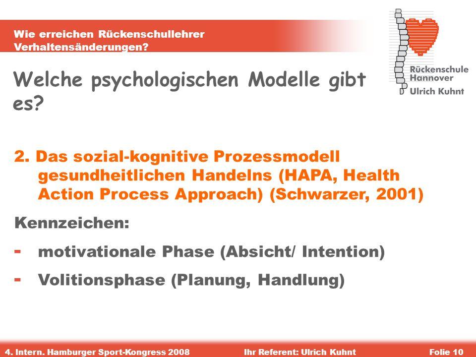 Wie erreichen Rückenschullehrer Verhaltensänderungen? 4. Intern. Hamburger Sport-Kongress 2008Ihr Referent: Ulrich KuhntFolie 10 Welche psychologische