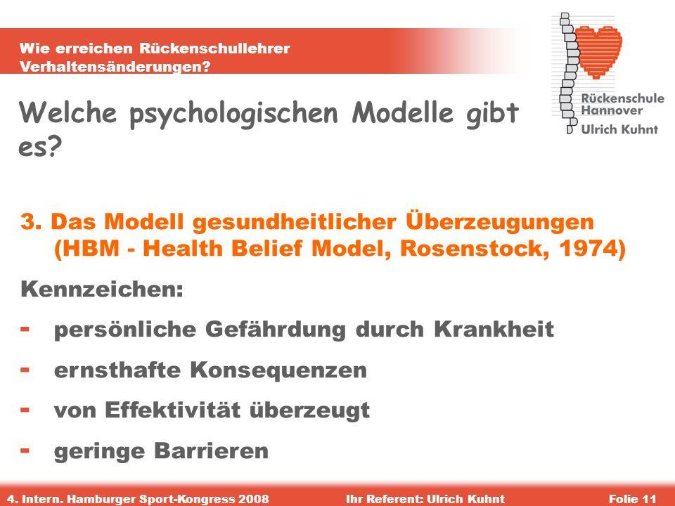 Wie erreichen Rückenschullehrer Verhaltensänderungen? 4. Intern. Hamburger Sport-Kongress 2008Ihr Referent: Ulrich KuhntFolie 11 Welche psychologische