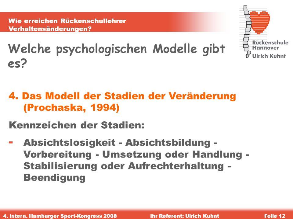 Wie erreichen Rückenschullehrer Verhaltensänderungen? 4. Intern. Hamburger Sport-Kongress 2008Ihr Referent: Ulrich KuhntFolie 12 Welche psychologische