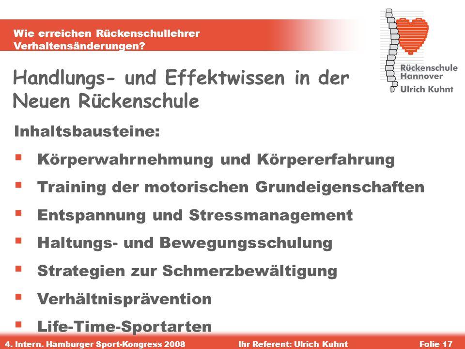 Wie erreichen Rückenschullehrer Verhaltensänderungen? 4. Intern. Hamburger Sport-Kongress 2008Ihr Referent: Ulrich KuhntFolie 17 Handlungs- und Effekt