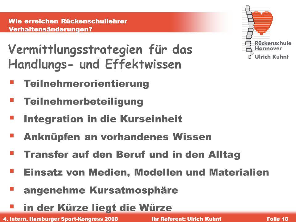 Wie erreichen Rückenschullehrer Verhaltensänderungen? 4. Intern. Hamburger Sport-Kongress 2008Ihr Referent: Ulrich KuhntFolie 18 Vermittlungsstrategie