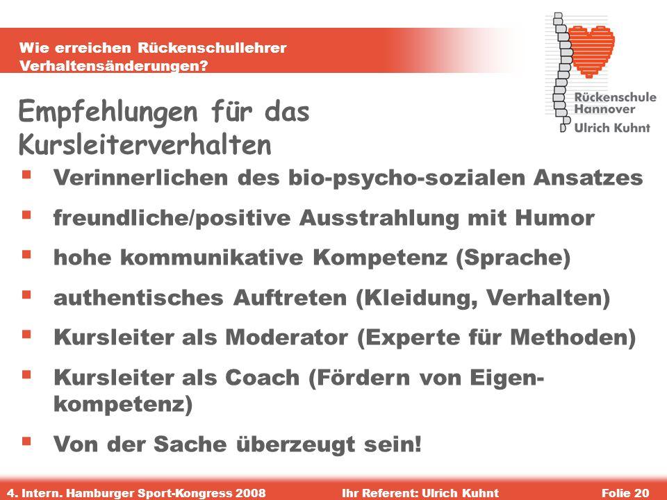 Wie erreichen Rückenschullehrer Verhaltensänderungen? 4. Intern. Hamburger Sport-Kongress 2008Ihr Referent: Ulrich KuhntFolie 20 Empfehlungen für das
