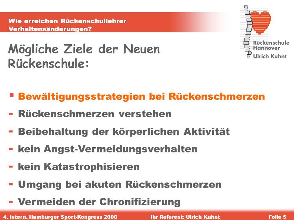 Wie erreichen Rückenschullehrer Verhaltensänderungen? 4. Intern. Hamburger Sport-Kongress 2008Ihr Referent: Ulrich KuhntFolie 5 Mögliche Ziele der Neu