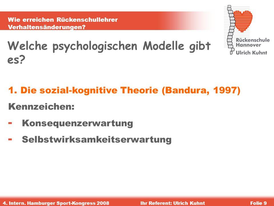 Wie erreichen Rückenschullehrer Verhaltensänderungen? 4. Intern. Hamburger Sport-Kongress 2008Ihr Referent: Ulrich KuhntFolie 9 Welche psychologischen