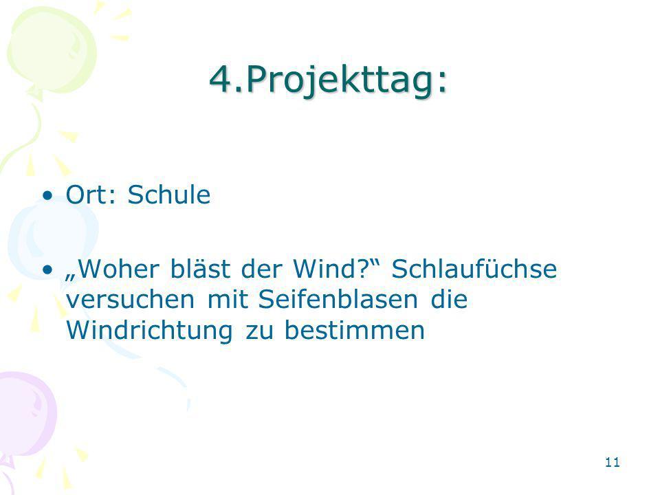 4.Projekttag: Ort: Schule Woher bläst der Wind? Schlaufüchse versuchen mit Seifenblasen die Windrichtung zu bestimmen 11