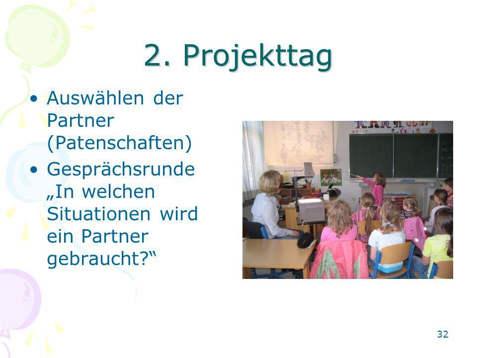 2. Projekttag Auswählen der Partner (Patenschaften) Gesprächsrunde In welchen Situationen wird ein Partner gebraucht? 32