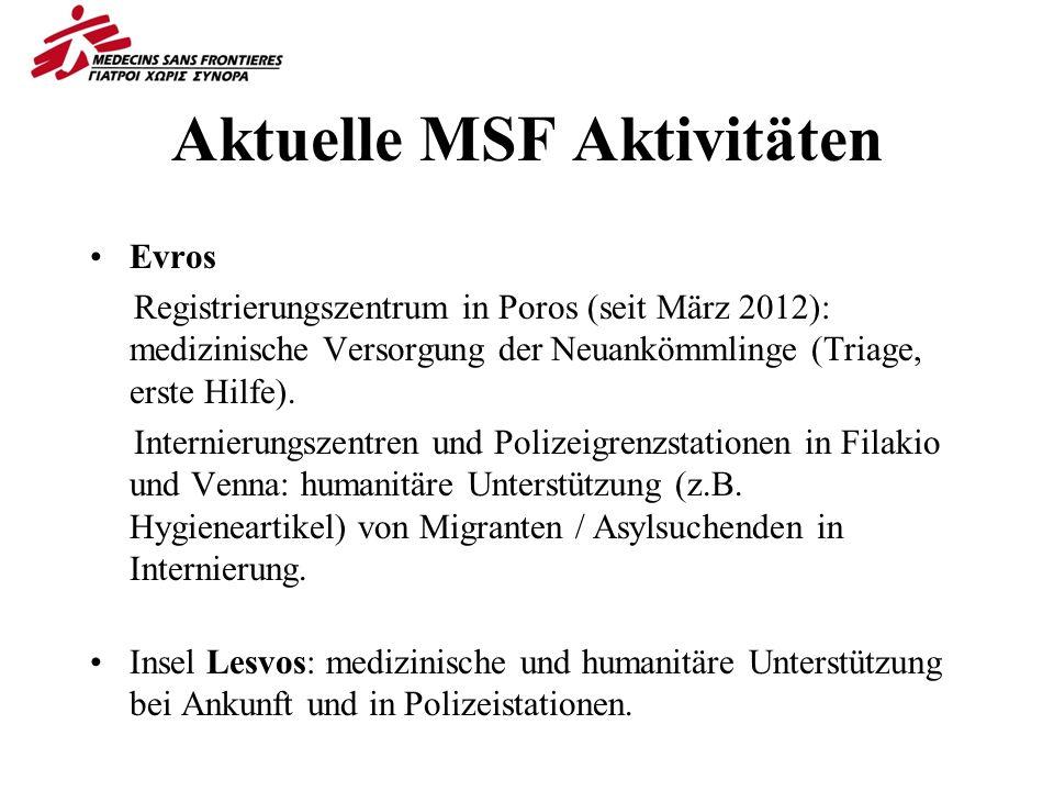 Aktuelle MSF Aktivitäten Evros Registrierungszentrum in Poros (seit März 2012): medizinische Versorgung der Neuankömmlinge (Triage, erste Hilfe).