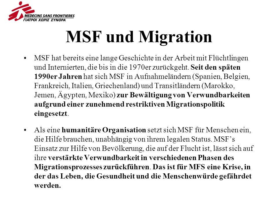 MSF und Migration MSF hat bereits eine lange Geschichte in der Arbeit mit Flüchtlingen und Internierten, die bis in die 1970er zurückgeht.