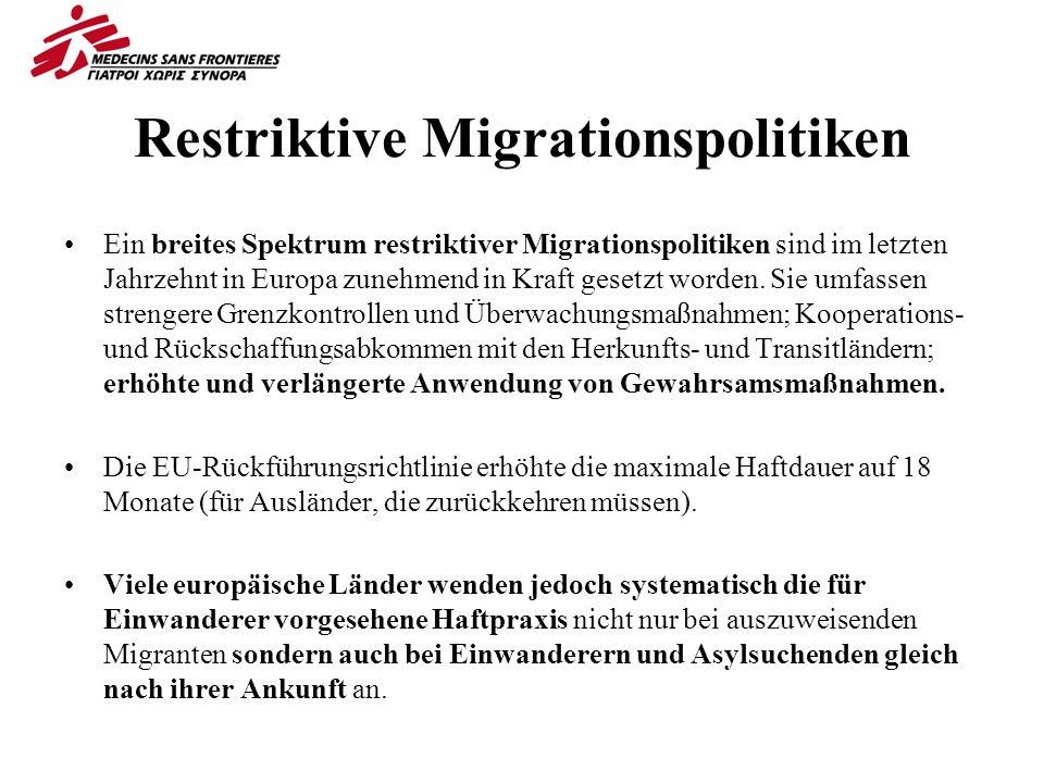 Restriktive Migrationspolitiken Ein breites Spektrum restriktiver Migrationspolitiken sind im letzten Jahrzehnt in Europa zunehmend in Kraft gesetzt worden.