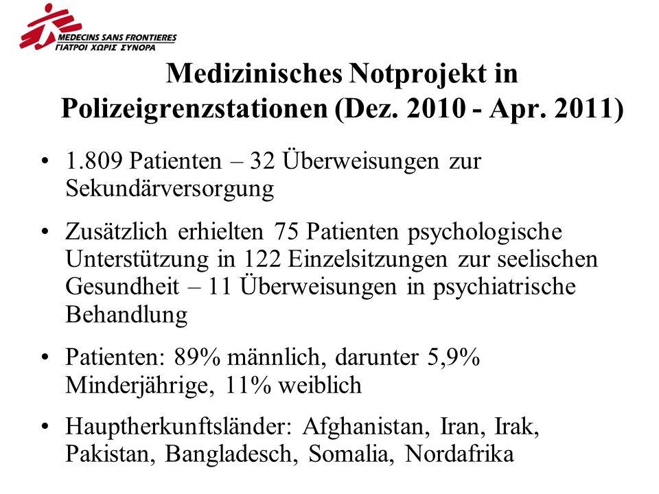 Medizinisches Notprojekt in Polizeigrenzstationen (Dez.