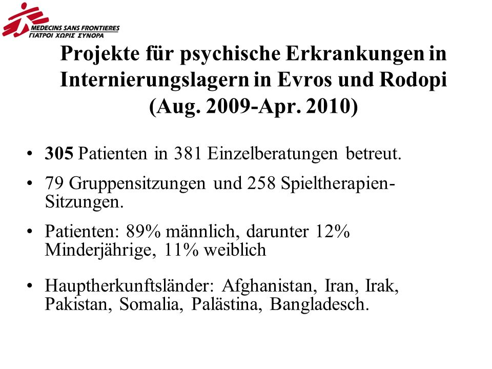 Projekte für psychische Erkrankungen in Internierungslagern in Evros und Rodopi (Aug.
