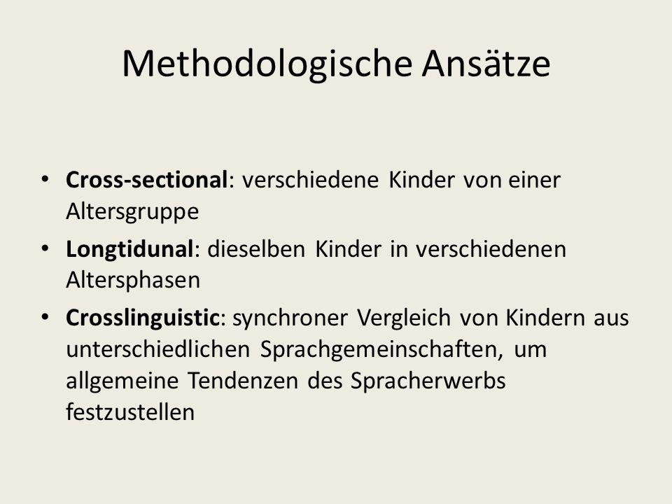 Methodologische Ansätze Cross-sectional: verschiedene Kinder von einer Altersgruppe Longtidunal: dieselben Kinder in verschiedenen Altersphasen Crossl