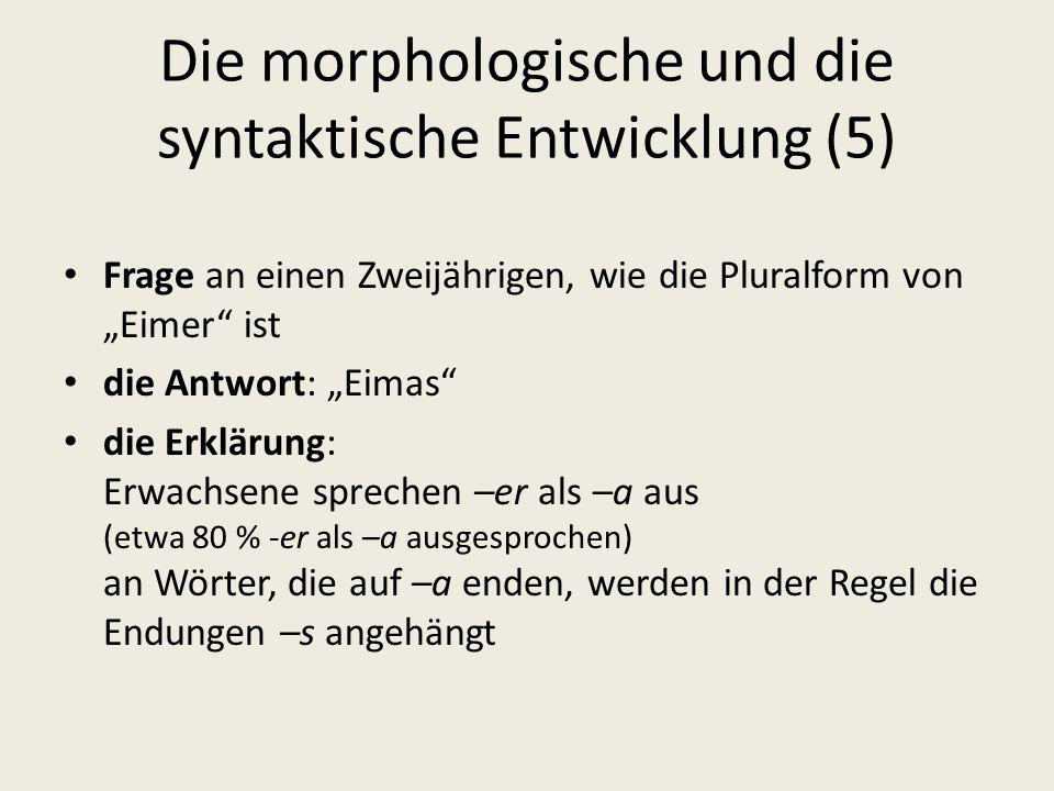 Die morphologische und die syntaktische Entwicklung (5) Frage an einen Zweijährigen, wie die Pluralform von Eimer ist die Antwort: Eimas die Erklärung