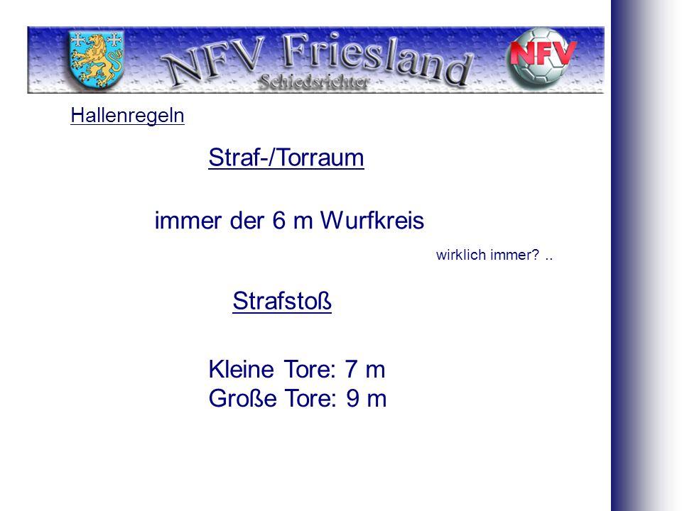 Hallenregeln Straf-/Torraum immer der 6 m Wurfkreis Strafstoß Kleine Tore: 7 m Große Tore: 9 m wirklich immer?..