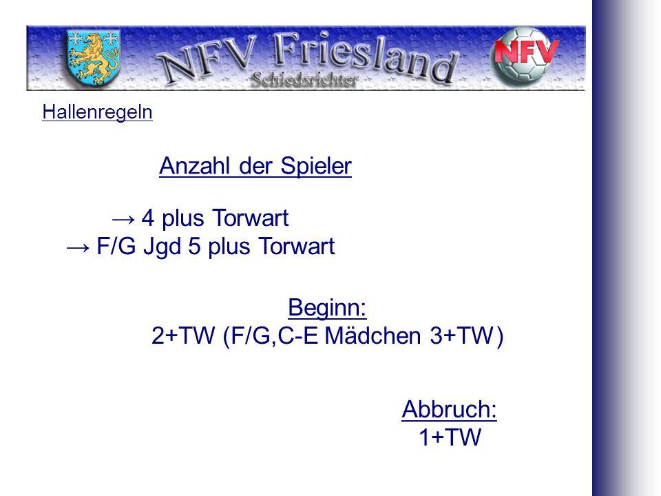 Hallenregeln Anzahl der Spieler Beginn: 2+TW (F/G,C-E Mädchen 3+TW) 4 plus Torwart F/G Jgd 5 plus Torwart Abbruch: 1+TW